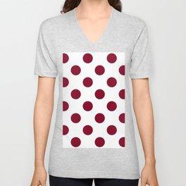 Large Polka Dots - Burgundy Red on White Unisex V-Neck