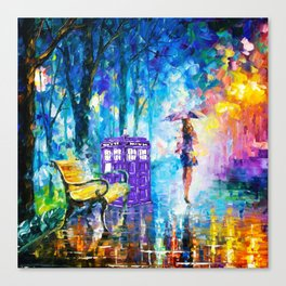 Little Tardis With The Girl Canvas Print
