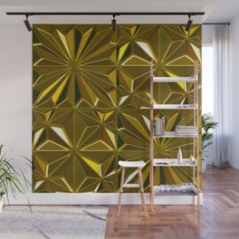 3-D Art Deco 24-Karat Gold Hues Tile Pattern Wall Mural