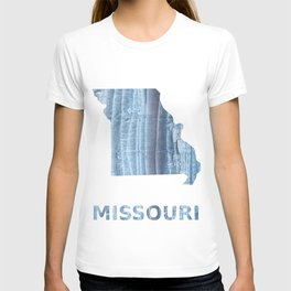 Missouri map outline Light steel blue nebulous watercolor T-shirt