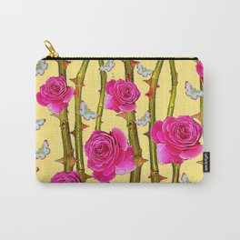 WHITE BUTTERFLIES & CERISE PINK ROSE THORN CANES YELLOW Carry-All Pouch