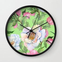 Vintage Floral Pattern: Pink Rose Buds and Elegant Flowers Wall Clock
