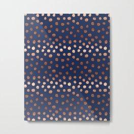 Rose Gold navy polka dot painted metallic pattern basic minimal pattern print Metal Print
