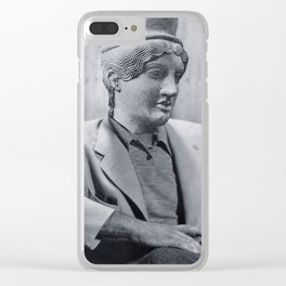 Seated Statue Man Clear iPhone Case