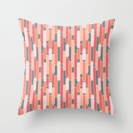 Modern Geometric Tabs in Coral, Pink, Gray and Peach Throw Pillow