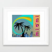 miami Framed Art Prints featuring Miami by Dunksauce Art