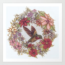 Hummingbird In Flowery Garden Wreath Art Print