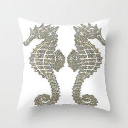 Vintage Tribal Sea Horses Throw Pillow