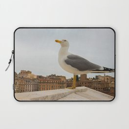 Macro portrait of seagull sitting on the top of building in Roma Italy Laptop Sleeve