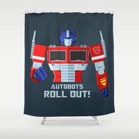 optimus prime Shower Curtains featuring Autobots, Roll out! (Optimus Prime) by DWatson