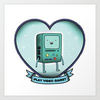 bmo Art Prints featuring BMO by Breathedeep