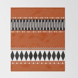 Bohemian orange, black&white tribal vibe Throw Blanket
