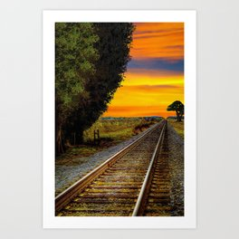 Sunset on Southern Tracks Art Print