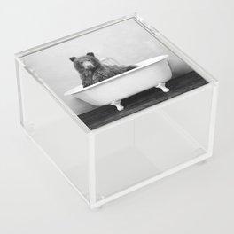 Bear in a Vintage Bathtub (bw) Acrylic Box