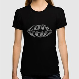 Love you with glitter letters inside lips T-shirt