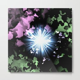 Light Beam Abstract Pink and Green Pattern Metal Print