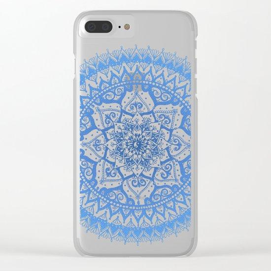 Yin Yang Mandala in Soft Blues Clear iPhone Case