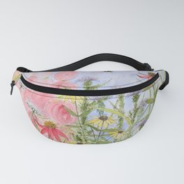 Botanical Floral Watercolor Pink Blue Yellow Flowers Blue Skies Fanny Pack