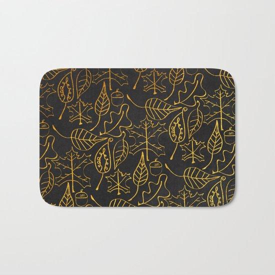 AUTUMN 1 - gold leaves on chalkboard background Bath Mat