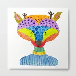 Cute Deer Watercolor Illustration Metal Print