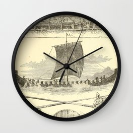 Vintage Vikings Artwork and Illustrations Wall Clock