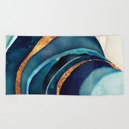 Abstract Blue with Gold Beach Towel
