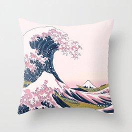 The Great Pink Wave off Kanagawa Throw Pillow