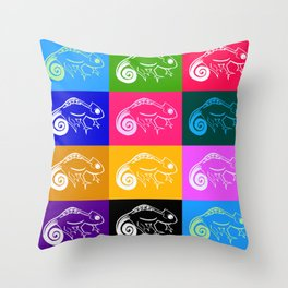 Rainbow chameleon drawing, with rainbow colors Throw Pillow