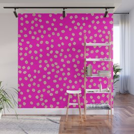 Modern rose gold glitter polka dots neon pink attern Wall Mural