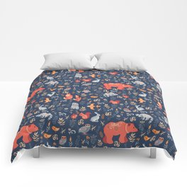 Fairy-tale forest. Fox, bear, raccoon, owls, rabbits, flowers and herbs on a blue background. Seamle Comforters
