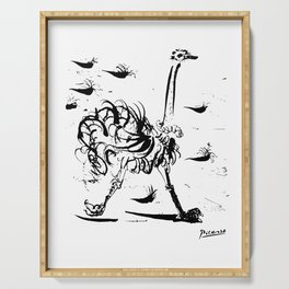 Pablo Picasso Ostrich Artwork T Shirt, Reproduction Sketch Serving Tray