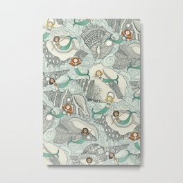 little mermaids big shells blue Metal Print