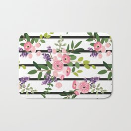 Pink roses bouquets with greenery on the striped background Bath Mat