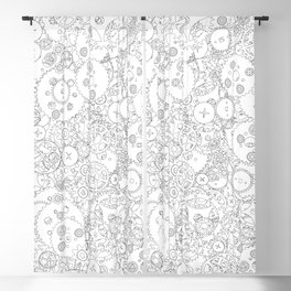 Clockwork B&W / Cogs and clockwork parts lineart pattern Blackout Curtain