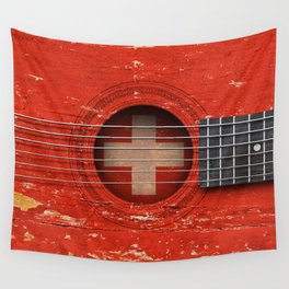 Old Vintage Acoustic Guitar with Swiss Flag Wall Tapestry