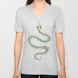 Snake Skeleton – Emerald & Gold Unisex V-Neck