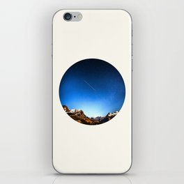 Mid Century Modern Round Circle Photo Minimalist Mountain Range Blue Sky iPhone Skin