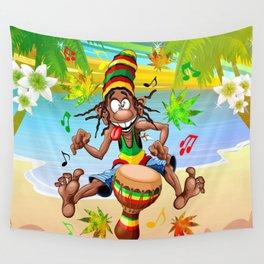 Rasta Bongo Musician funny cool character Wall Tapestry