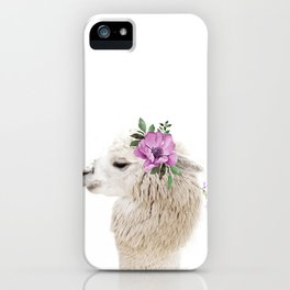 Baby Alpaca with Flower Crown iPhone Case