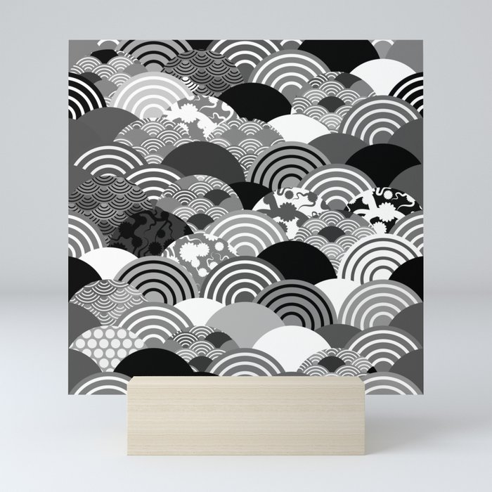 Nature background with japanese sakura flower, Cherry, wave circle Black gray white colors Mini Art Print