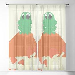 Small frog sitting on mushroom Sheer Curtain