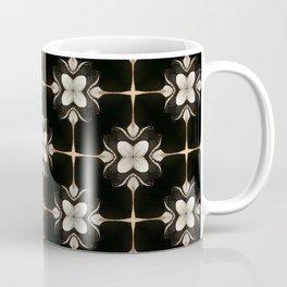 White and Black Floral Pattern Coffee Mug