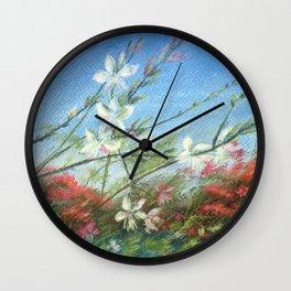 Wildflowers - blue horizon Wall Clock