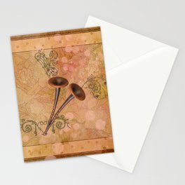 Music, pipe with clef and key notes Stationery Cards
