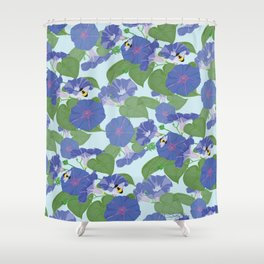 Glory Bee - Vintage Floral Morning Glories and Bumble Bees Shower Curtain