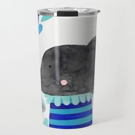 elephant with raindrops in blue watercolor illustration Travel Mug