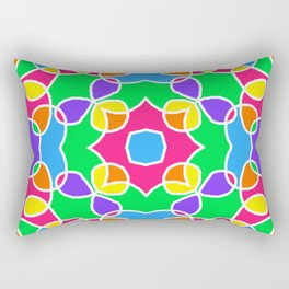 Rainbow Mosaic Symmetrical Swirls Kaleidoscope 2 Rectangular Pillow