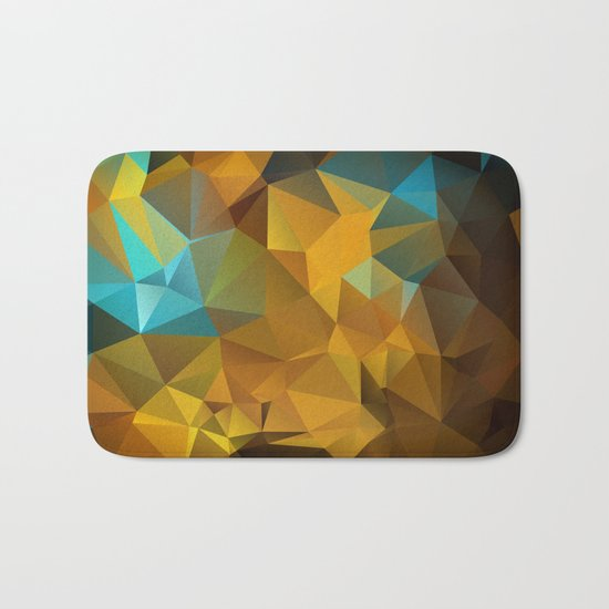 Polygon geometric abstract pattern in blue and yellow tones . Bath Mat