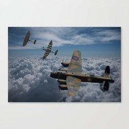 Lancaster Bomber and Spitfires Canvas Print