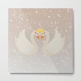 swans,Cute swan princess character, cute,  Metal Print